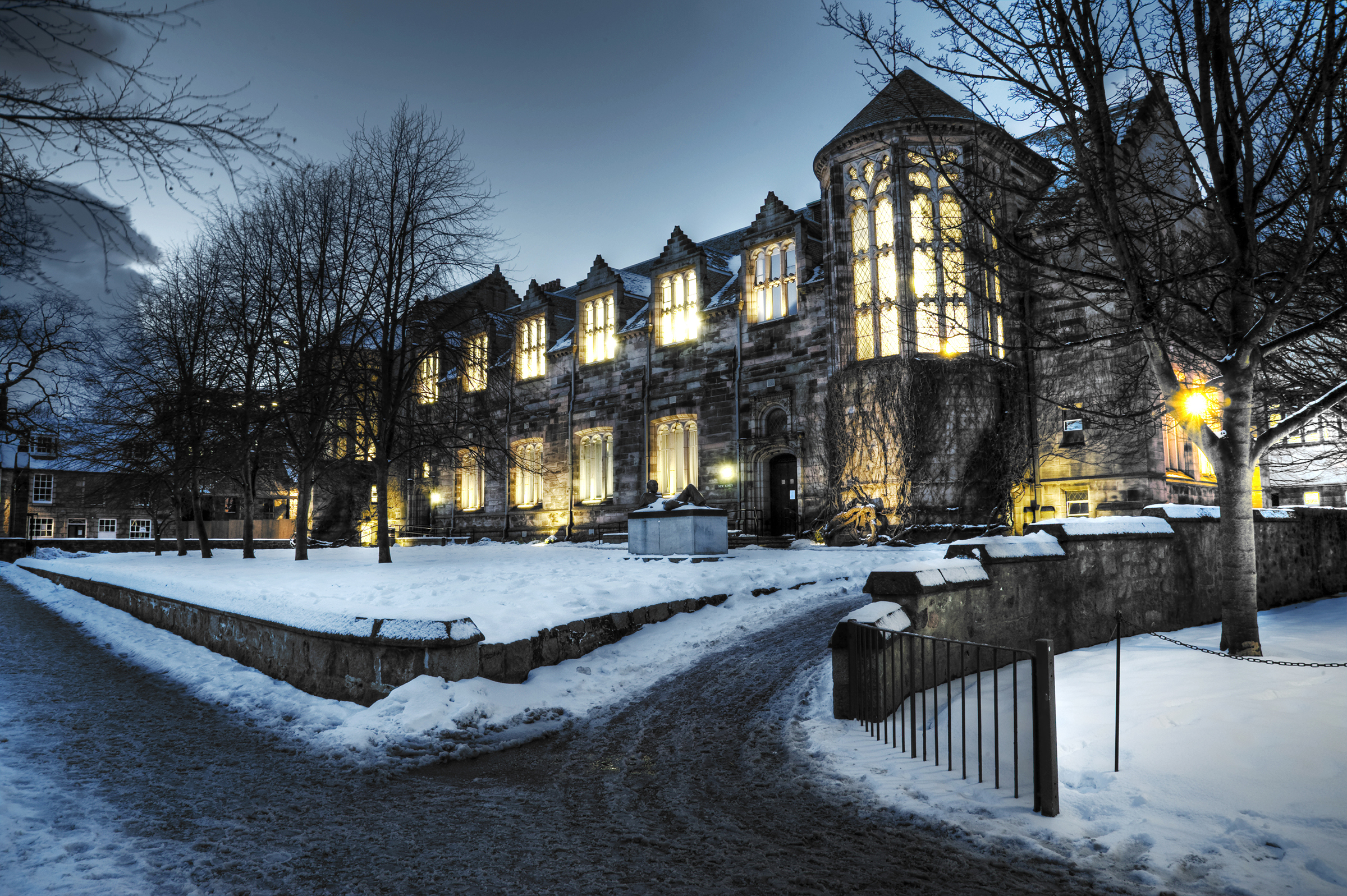 University of Aberdeen building during winter